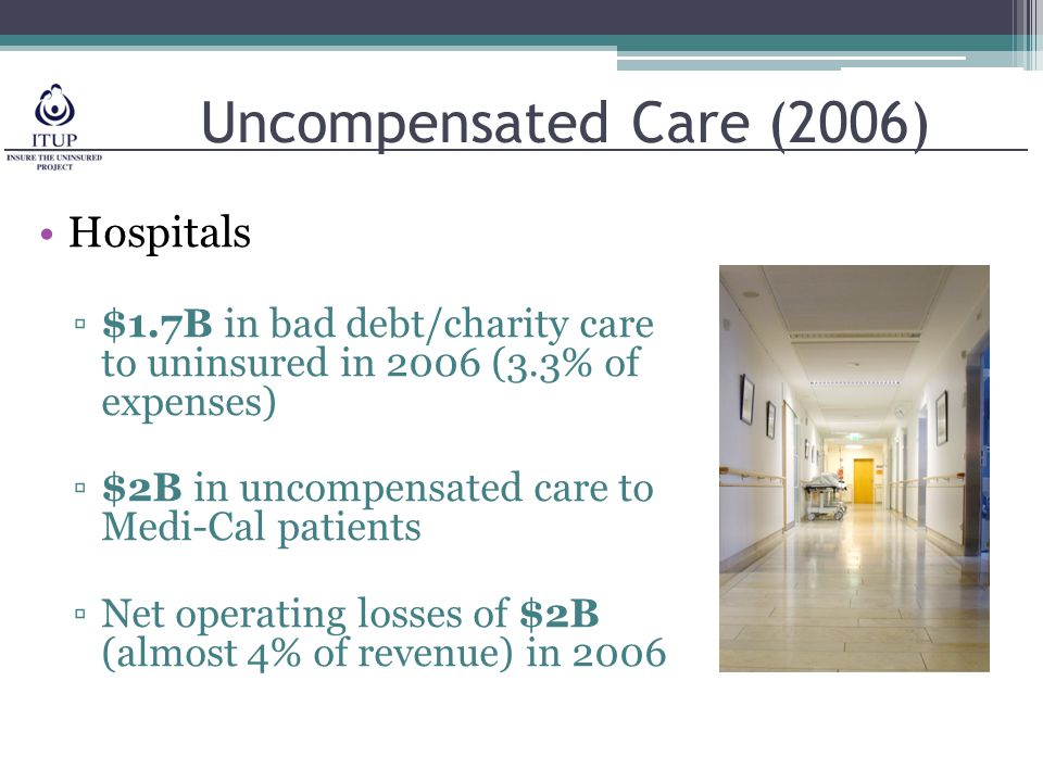 Uncompensated Care (2006) Hospitals ▫$1.7B in bad debt/charity care to uninsured in 2006 (3.3% of expenses) ▫$2B in uncompensated care to Medi-Cal patients ▫Net operating losses of $2B (almost 4% of revenue) in 2006