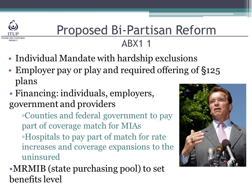 Proposed Bi-Partisan Reform ABX1 1 Individual Mandate with hardship exclusions Employer pay or play and required offering of §125 plans Financing: individuals, employers, government and providers ▫Counties and federal government to pay part of coverage match for MIAs ▫Hospitals to pay part of match for rate increases and coverage expansions to the uninsured MRMIB (state purchasing pool) to set benefits level