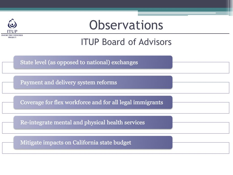 Observations ITUP Board of Advisors