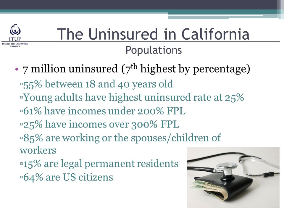 The Uninsured in California Populations