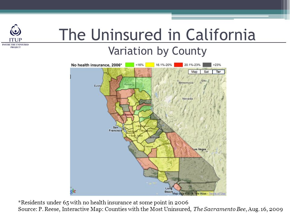 *Residents under 65 with no health insurance at some point in 2006 Source: P.