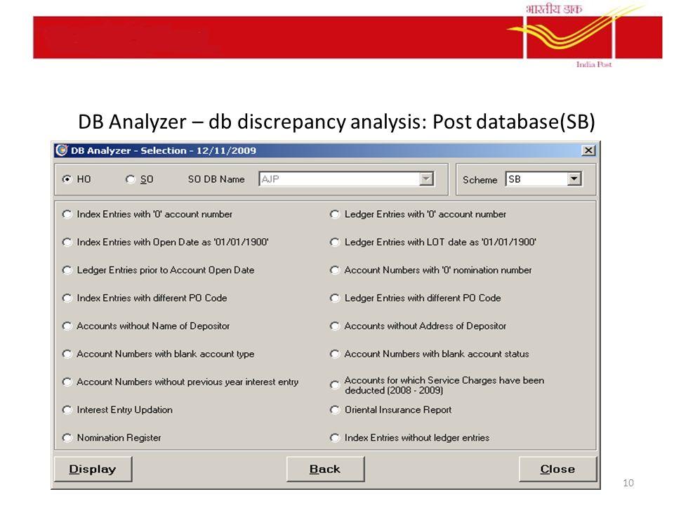 DB Analyzer – db discrepancy analysis: Post database(SB) 10