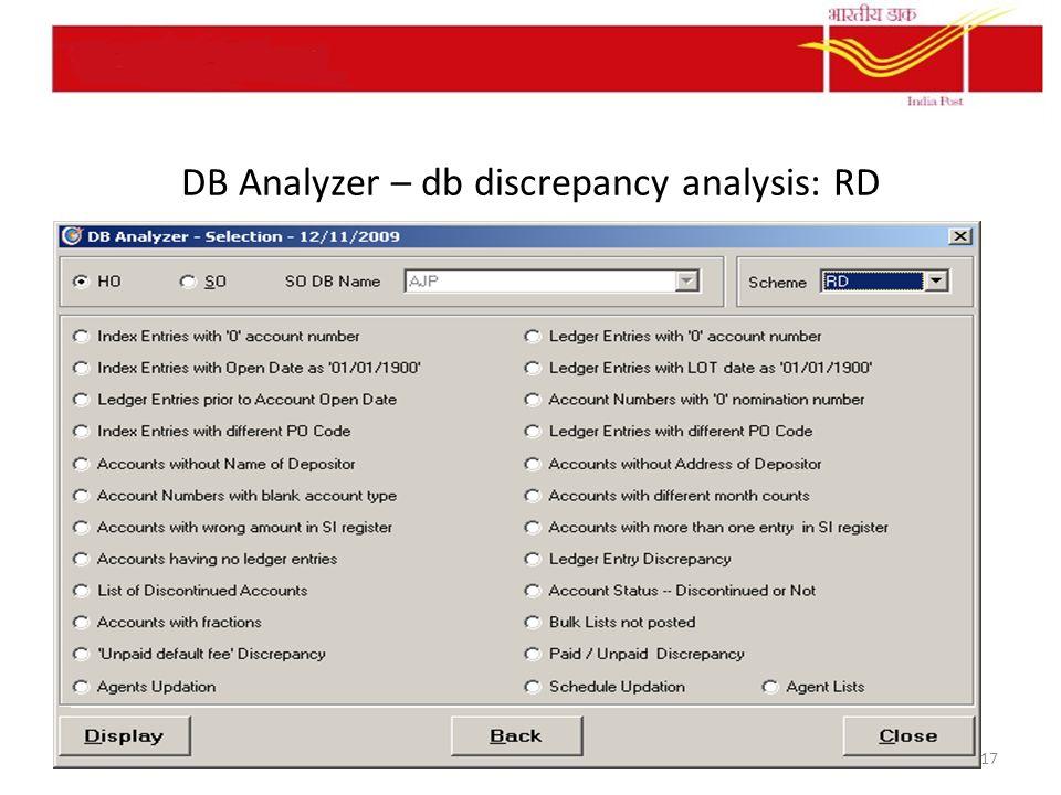 DB Analyzer – db discrepancy analysis: RD 17