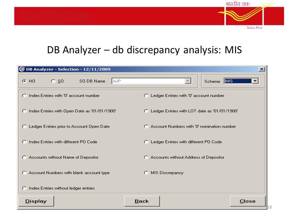 DB Analyzer – db discrepancy analysis: MIS 18