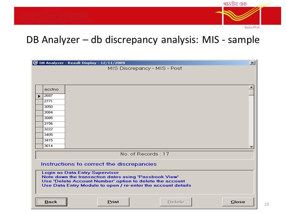 DB Analyzer – db discrepancy analysis: MIS - sample 19