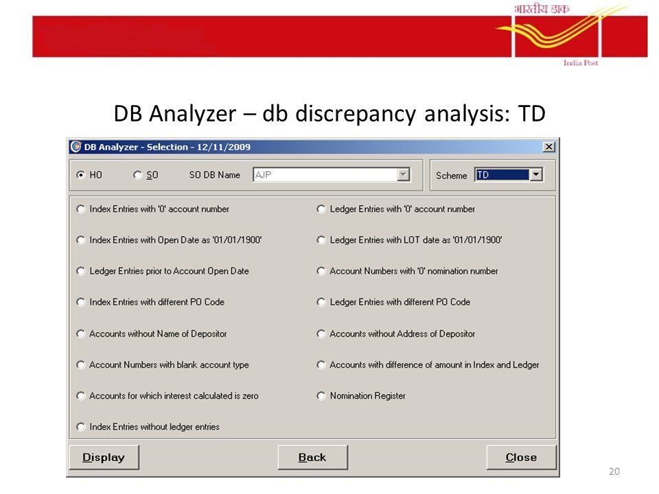 DB Analyzer – db discrepancy analysis: TD 20