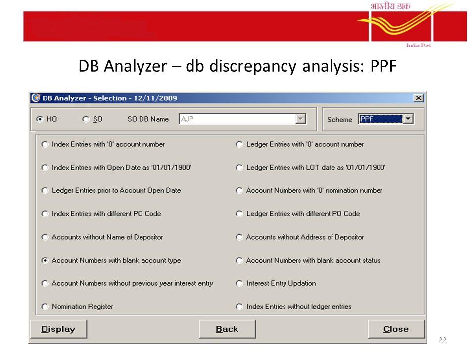 DB Analyzer – db discrepancy analysis: PPF 22