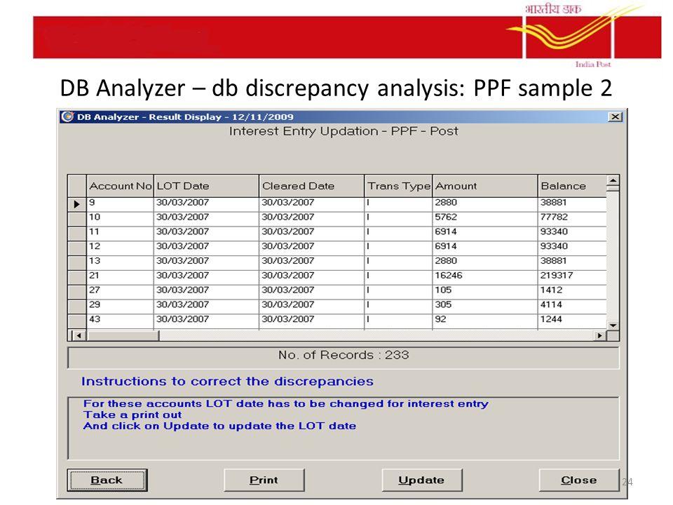 DB Analyzer – db discrepancy analysis: PPF sample 2 24