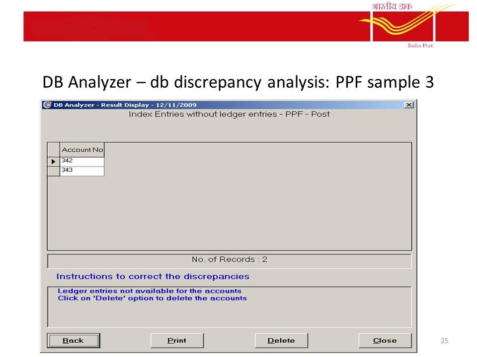DB Analyzer – db discrepancy analysis: PPF sample 3 25