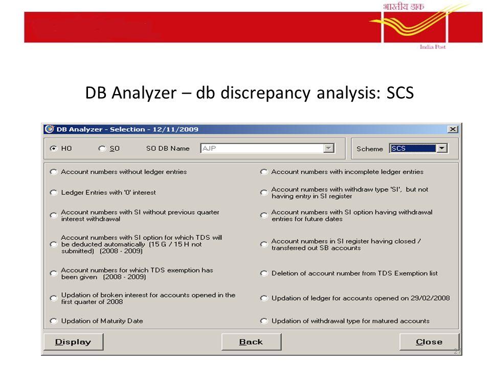 DB Analyzer – db discrepancy analysis: SCS 27
