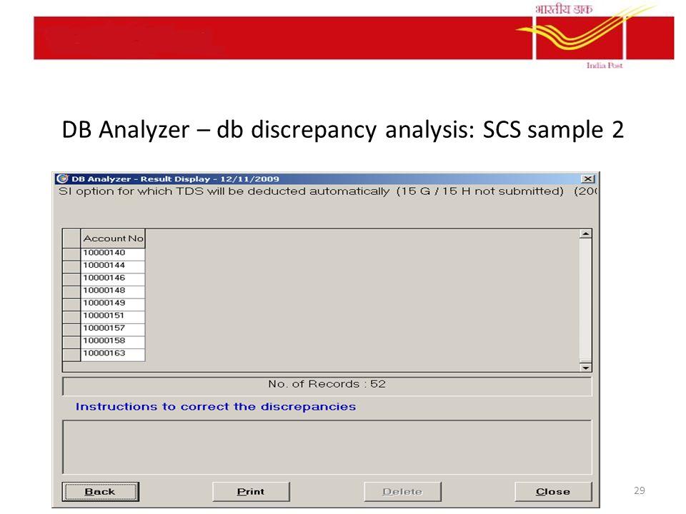 DB Analyzer – db discrepancy analysis: SCS sample 2 29
