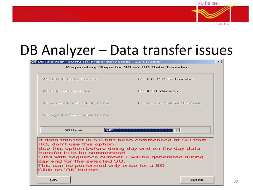 DB Analyzer – Data transfer issues 30