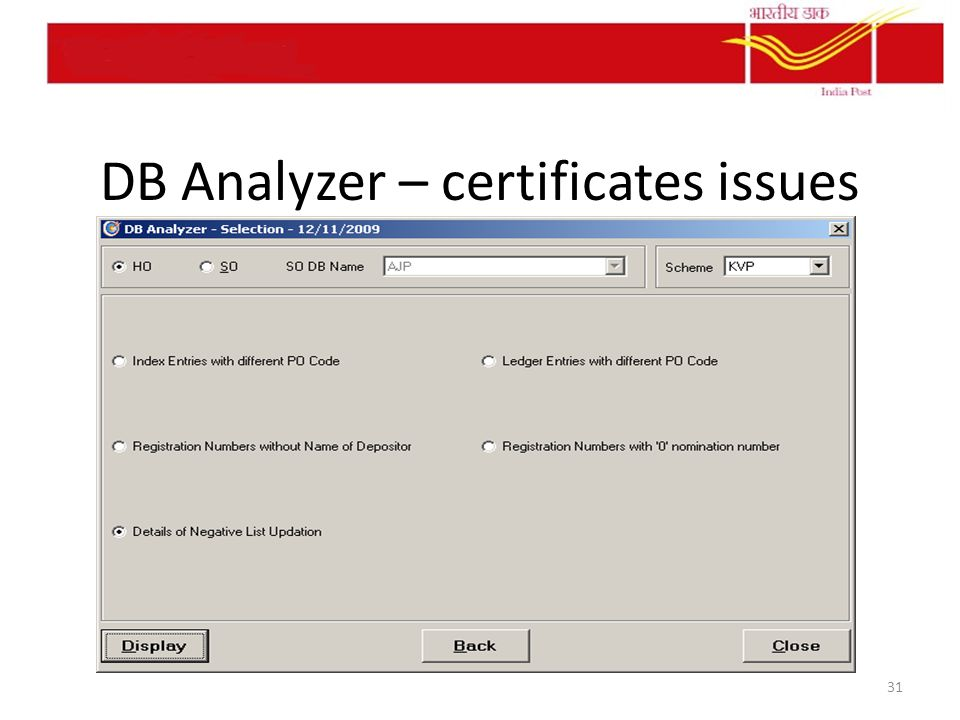 DB Analyzer – certificates issues 31