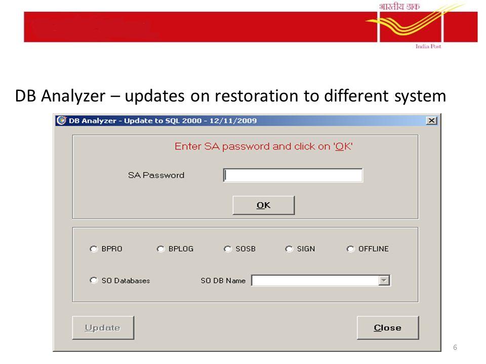 DB Analyzer – updates on restoration to different system 6