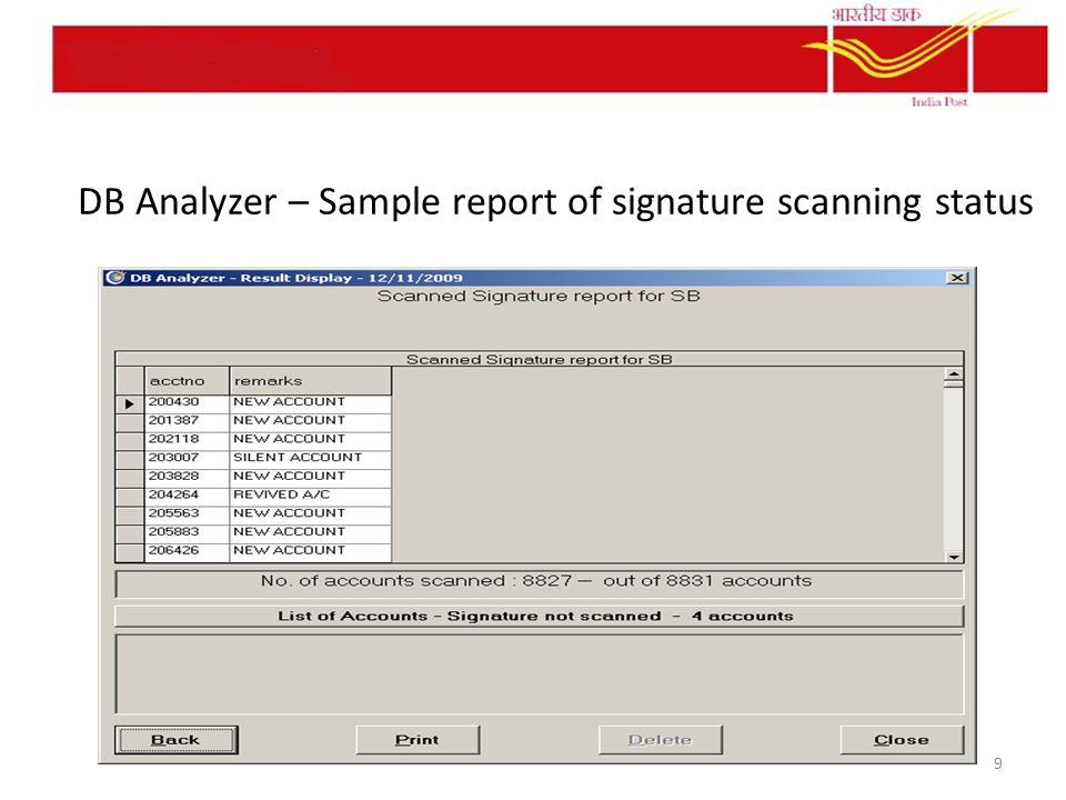 DB Analyzer – Sample report of signature scanning status 9