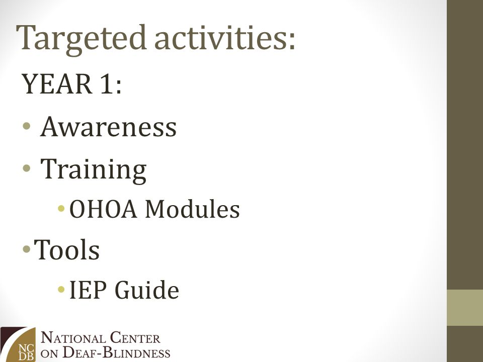 Targeted activities: YEAR 1: Awareness Training OHOA Modules Tools IEP Guide