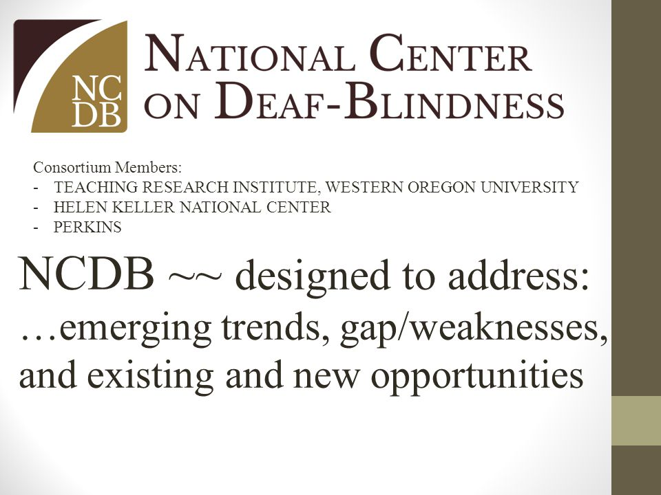 Consortium Members: -TEACHING RESEARCH INSTITUTE, WESTERN OREGON UNIVERSITY -HELEN KELLER NATIONAL CENTER -PERKINS NCDB ~~ designed to address: …emerging trends, gap/weaknesses, and existing and new opportunities