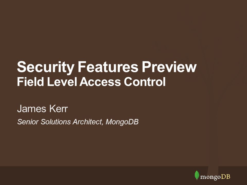 Senior Solutions Architect, MongoDB James Kerr Security Features Preview Field Level Access Control