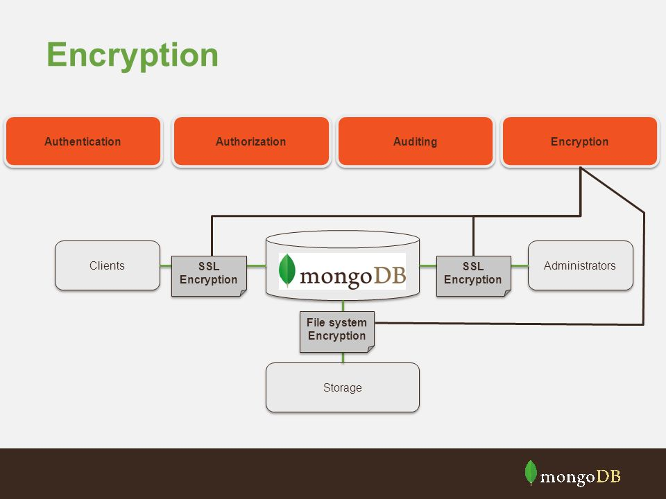 Encryption Clients Storage Administrators Authentication Authorization Auditing Encryption SSL Encryption File system Encryption