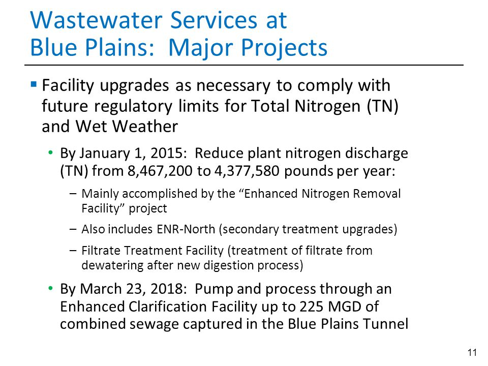 11 Wastewater Services at Blue Plains: Major Projects  Facility upgrades as necessary to comply with future regulatory limits for Total Nitrogen (TN)