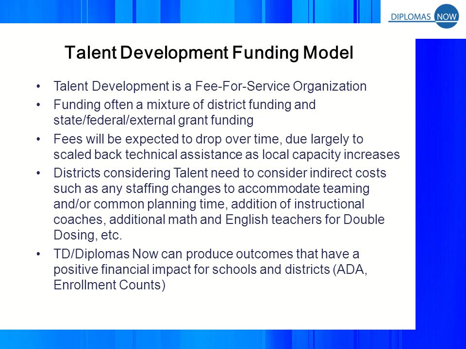 TALENT DEVELOPMENT FEE STRUCTURE Costs Include: –Talent Development On-Site School Transformation Facilitator –Talent Development Teacher and Student Materials –Talent Development Technical Assistance –Summer Learning Opportunities (Coaches and National Conference) –Partnership Fee: Annual Cost that covers climate and instruction survey, management support for projects, TDHS network publications, etc.