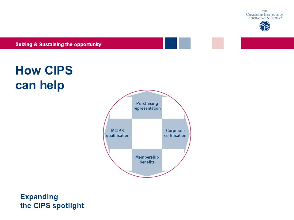 Seizing & Sustaining the opportunity How CIPS can help Expanding the CIPS spotlight MCIPS qualification Corporate certification Purchasing representation Membership benefits