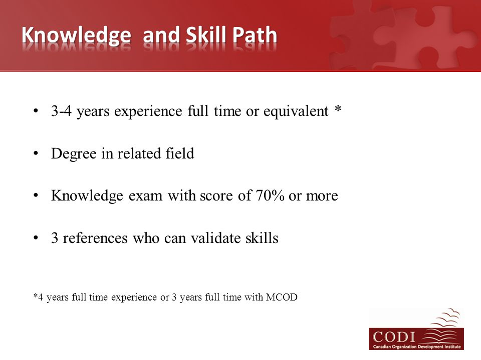 3-4 years experience full time or equivalent * Degree in related field Knowledge exam with score of 70% or more 3 references who can validate skills *4 years full time experience or 3 years full time with MCOD