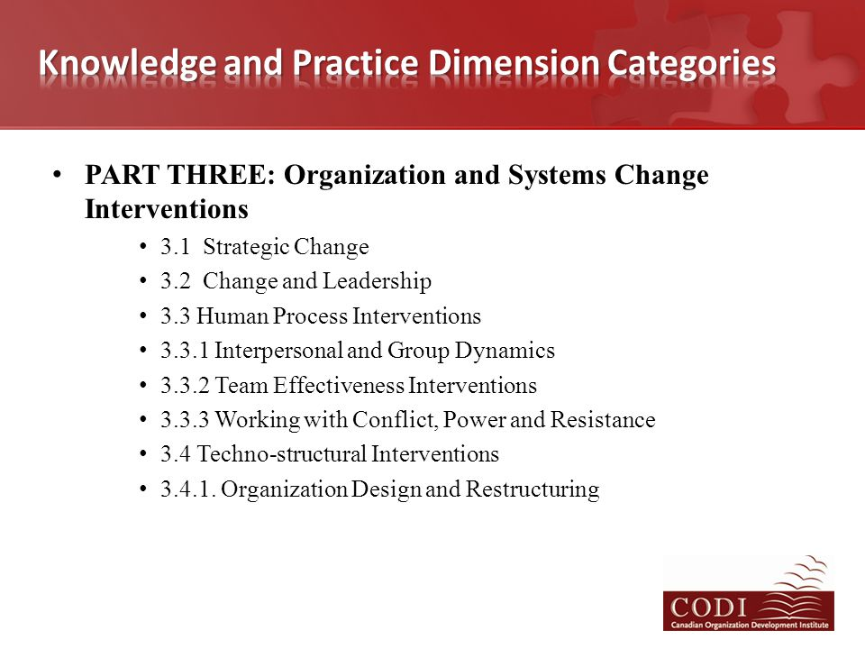 PART THREE: Organization and Systems Change Interventions 3.1 Strategic Change 3.2 Change and Leadership 3.3 Human Process Interventions 3.3.1 Interpe