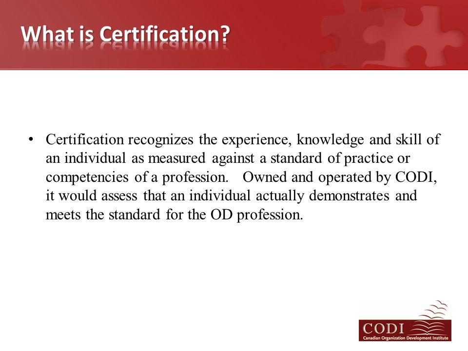 Pilot of Senior Practitioner (Portfolio process) done in October 2013.