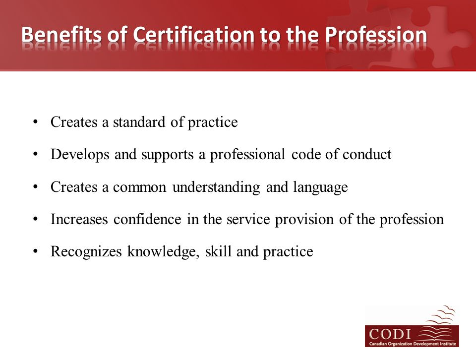 Creates a standard of practice Develops and supports a professional code of conduct Creates a common understanding and language Increases confidence i
