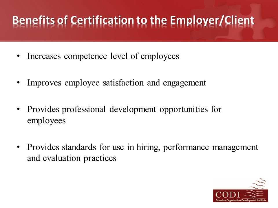 Increases competence level of employees Improves employee satisfaction and engagement Provides professional development opportunities for employees Pr