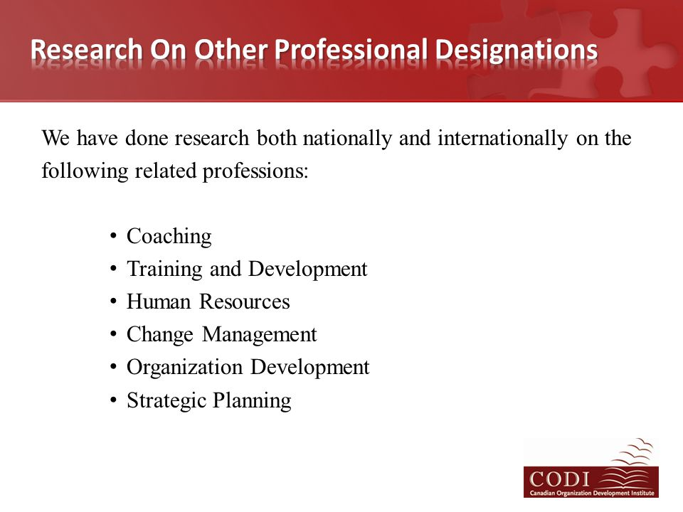 We have done research both nationally and internationally on the following related professions: Coaching Training and Development Human Resources Chan