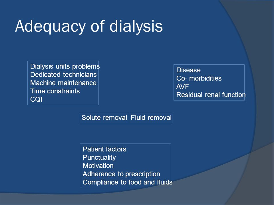 Adequacy of dialysis Solute removalFluid removal Dialysis units problems Dedicated technicians Machine maintenance Time constraints CQI Patient factor