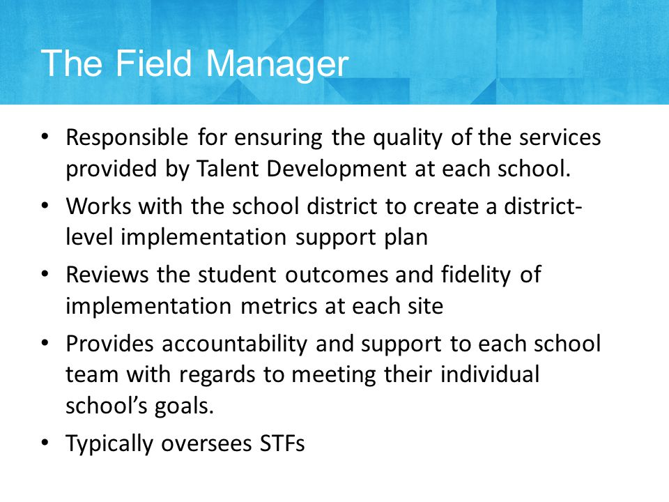Responsible for ensuring the quality of the services provided by Talent Development at each school.
