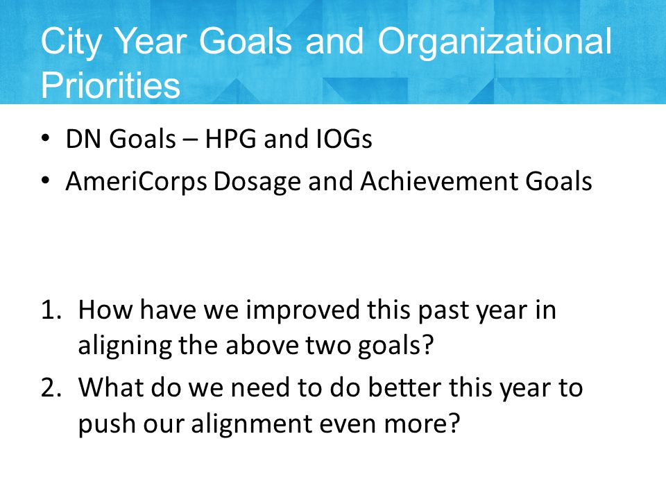 DN Goals – HPG and IOGs AmeriCorps Dosage and Achievement Goals 1.How have we improved this past year in aligning the above two goals.