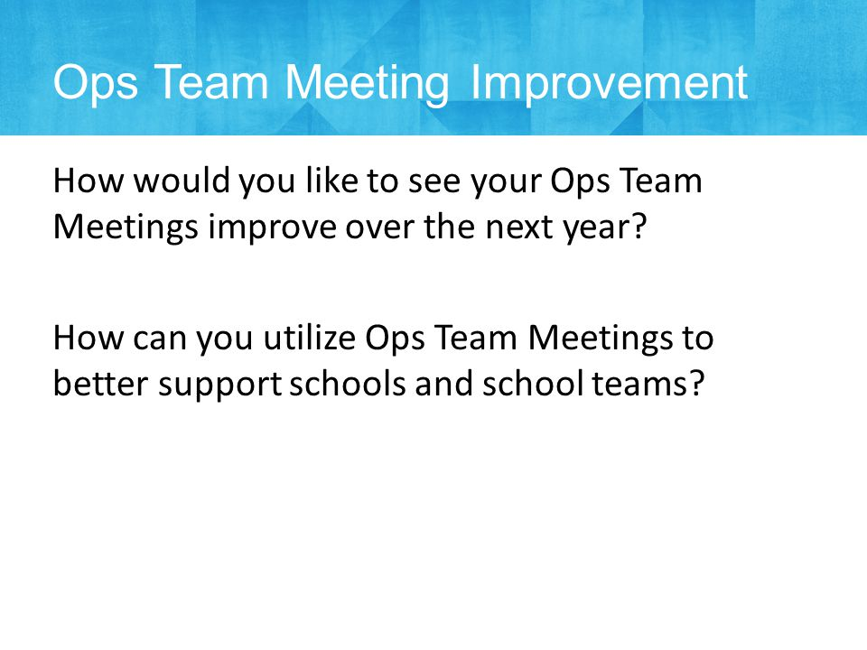 How would you like to see your Ops Team Meetings improve over the next year.