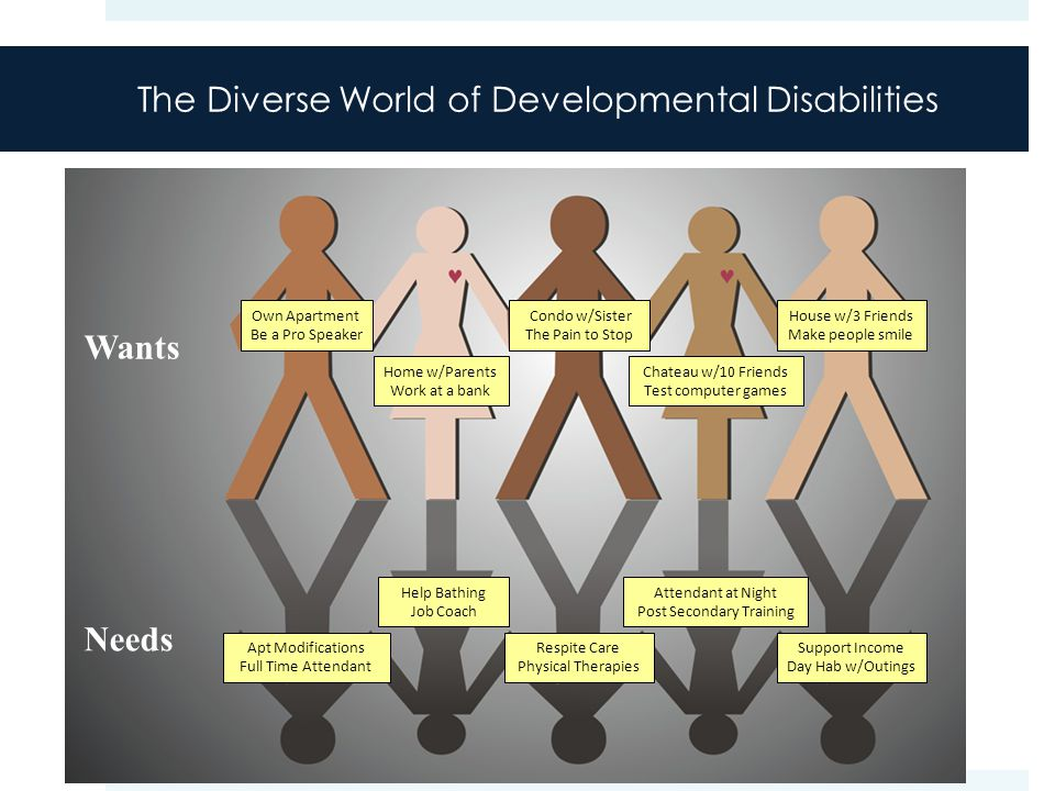 The Diverse World of Developmental Disabilities Wants Own Apartment Be a Pro Speaker Home w/Parents Work at a bank Condo w/Sister The Pain to Stop Chateau w/10 Friends Test computer games House w/3 Friends Make people smile Needs Apt Modifications Full Time Attendant Help Bathing Job Coach Respite Care Physical Therapies Attendant at Night Post Secondary Training Support Income Day Hab w/Outings