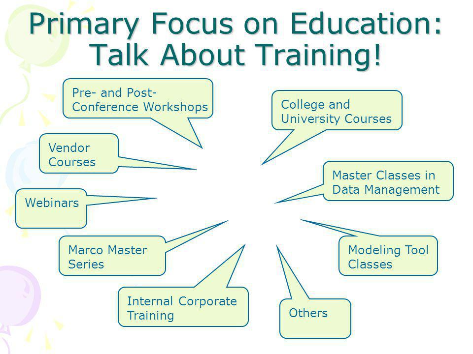 Primary Focus on Education: Talk About Training.