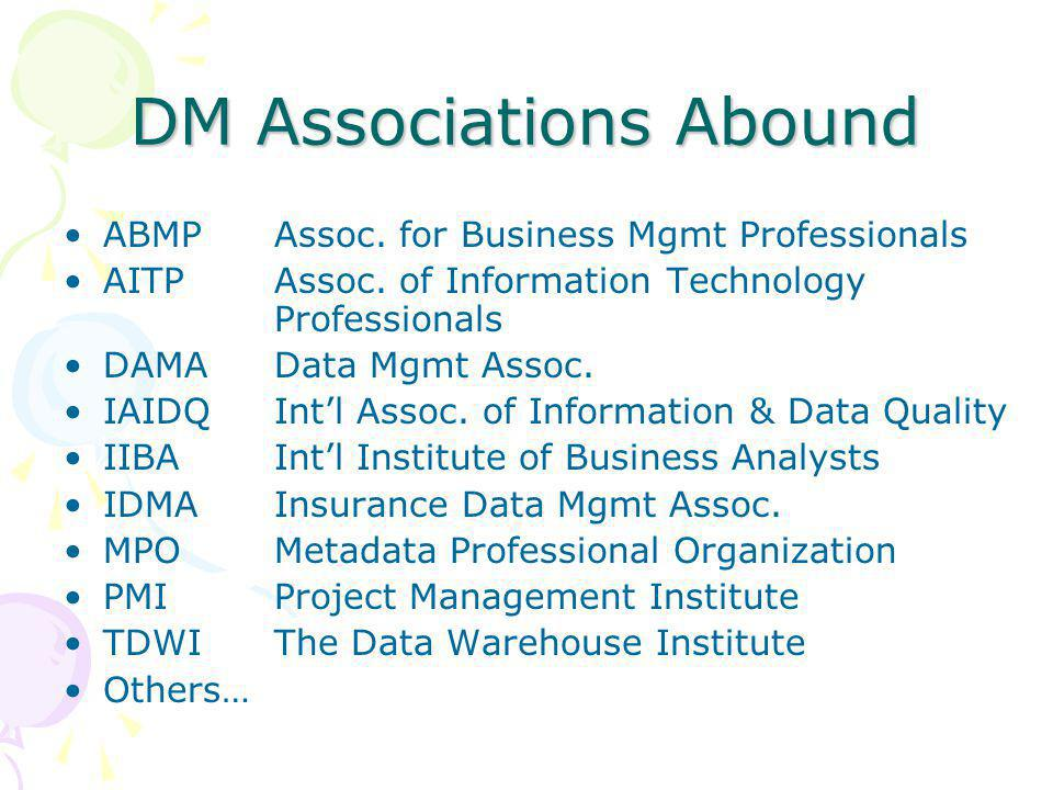 DM Associations Abound ABMPAssoc. for Business Mgmt Professionals AITPAssoc.