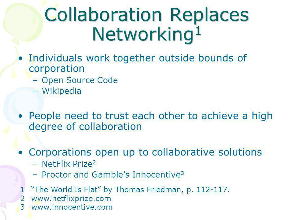 Collaboration Replaces Networking 1 Individuals work together outside bounds of corporation –Open Source Code –Wikipedia People need to trust each other to achieve a high degree of collaboration Corporations open up to collaborative solutions –NetFlix Prize 2 –Proctor and Gamble's Innocentive 3 1 The World Is Flat by Thomas Friedman, p.