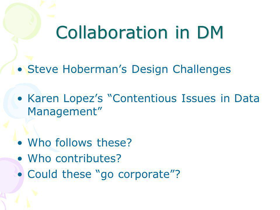 Collaboration in DM Steve Hoberman's Design Challenges Karen Lopez's Contentious Issues in Data Management Who follows these.