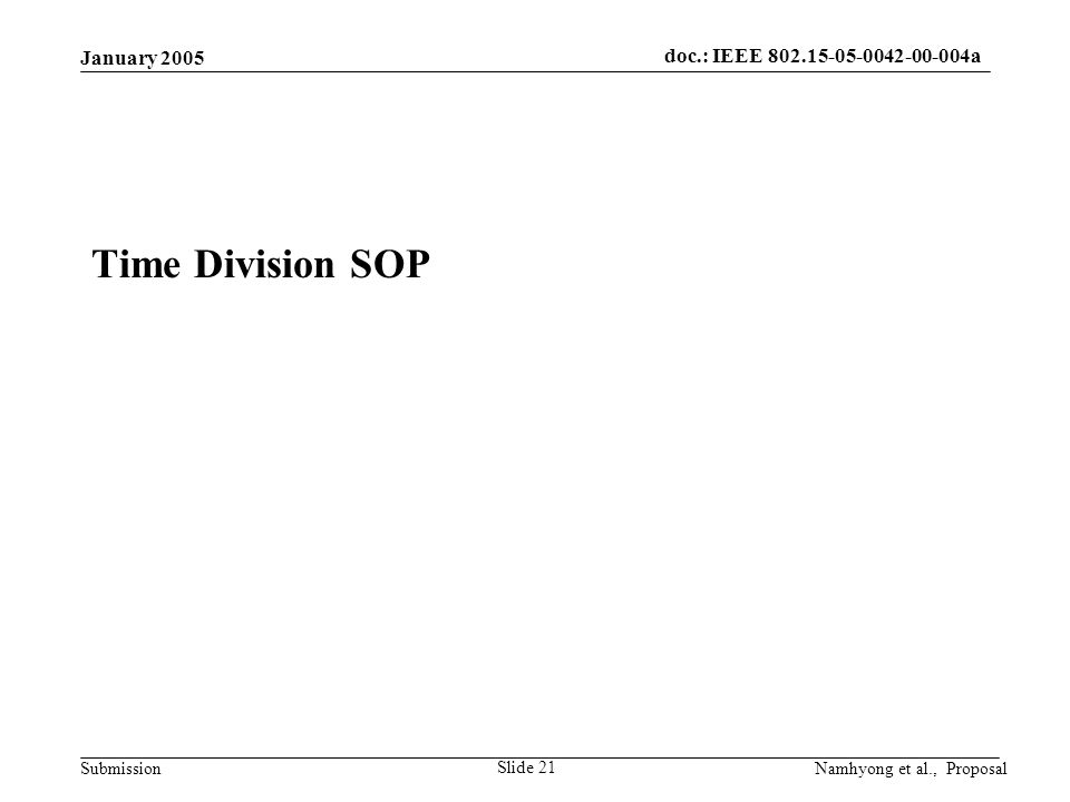 doc.: IEEE 802.15-05-0042-00-004a Submission January 2005 Namhyong et al., Proposal Slide 21 Time Division SOP