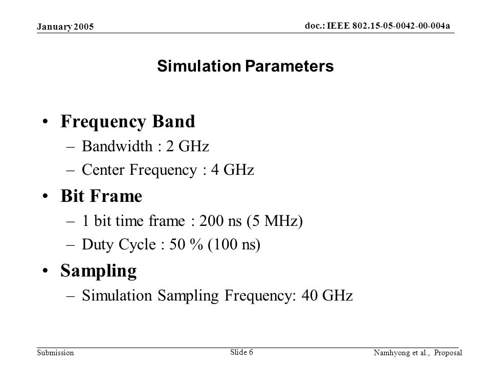 doc.: IEEE 802.15-05-0042-00-004a Submission January 2005 Namhyong et al., Proposal Slide 6 Simulation Parameters Frequency Band –Bandwidth : 2 GHz –Center Frequency : 4 GHz Bit Frame –1 bit time frame : 200 ns (5 MHz) –Duty Cycle : 50 % (100 ns) Sampling –Simulation Sampling Frequency: 40 GHz