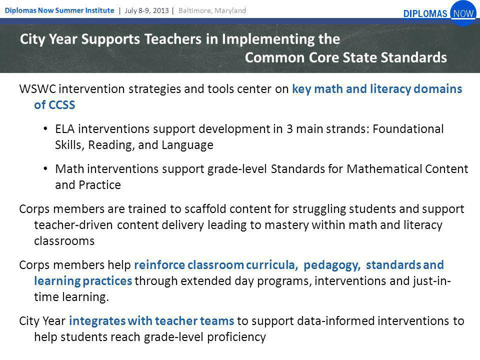 City Year Supports Teachers in Implementing the Common Core State Standards WSWC intervention strategies and tools center on key math and literacy domains of CCSS ELA interventions support development in 3 main strands: Foundational Skills, Reading, and Language Math interventions support grade-level Standards for Mathematical Content and Practice Corps members are trained to scaffold content for struggling students and support teacher-driven content delivery leading to mastery within math and literacy classrooms Corps members help reinforce classroom curricula, pedagogy, standards and learning practices through extended day programs, interventions and just-in- time learning.