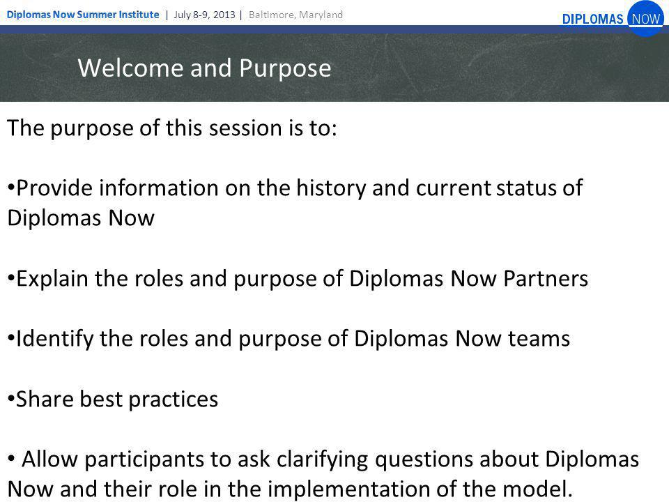 Welcome and Purpose The purpose of this session is to: Provide information on the history and current status of Diplomas Now Explain the roles and purpose of Diplomas Now Partners Identify the roles and purpose of Diplomas Now teams Share best practices Allow participants to ask clarifying questions about Diplomas Now and their role in the implementation of the model.