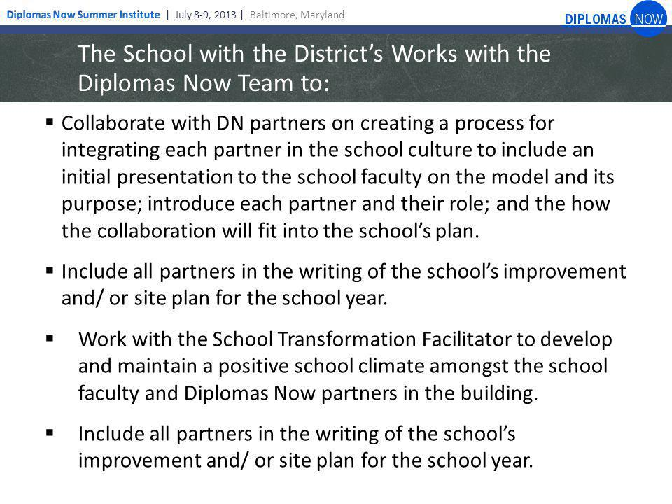 The School with the District's Works with the Diplomas Now Team to:  Collaborate with DN partners on creating a process for integrating each partner in the school culture to include an initial presentation to the school faculty on the model and its purpose; introduce each partner and their role; and the how the collaboration will fit into the school's plan.