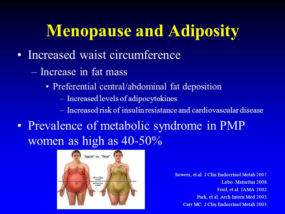 Menopause and Adiposity Increased waist circumference –Increase in fat mass Preferential central/abdominal fat deposition –Increased levels of adipocy