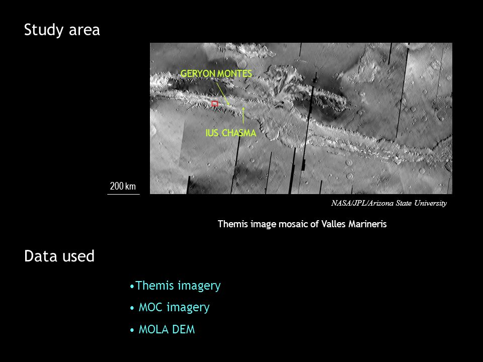 Themis image mosaic of Valles Marineris Study area Data used Themis imagery MOC imagery MOLA DEM 200 km NASA/JPL/Arizona State University IUS CHASMA GERYON MONTES