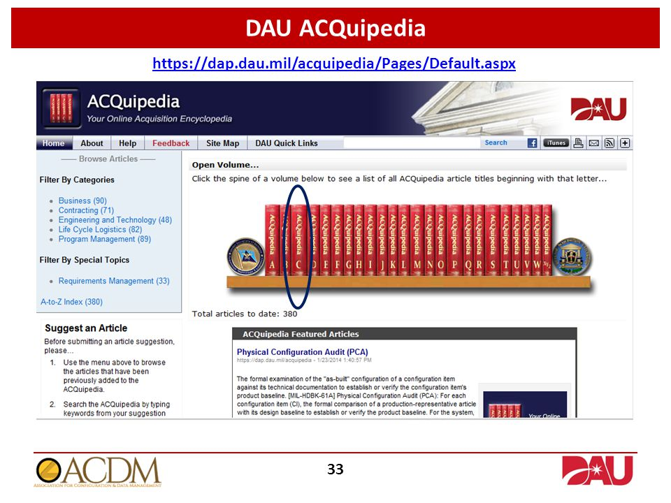 DAU ACQuipedia https://dap.dau.mil/acquipedia/Pages/Default.aspx 33