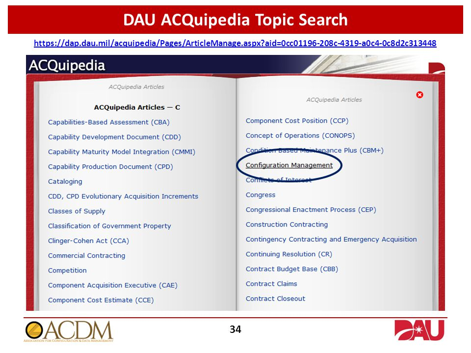 DAU ACQuipedia Topic Search https://dap.dau.mil/acquipedia/Pages/ArticleManage.aspx?aid=0cc01196-208c-4319-a0c4-0c8d2c313448 34